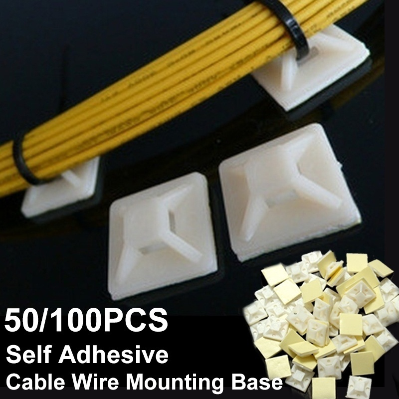 Bases Fixing-Seat-Clamps Wall-Holder Self-Adhesive-Cable-Wire 50-200pcs/Set 2cmx2cm