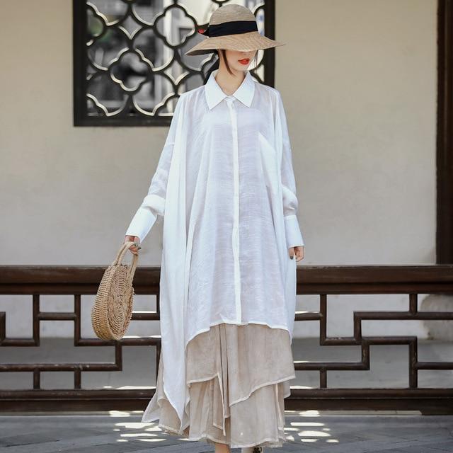 Women Plus Size White Blouse Ladies Irregular Length Oversized Shirt Tops Female 2020 Spring Autumn Big Size Tops 3