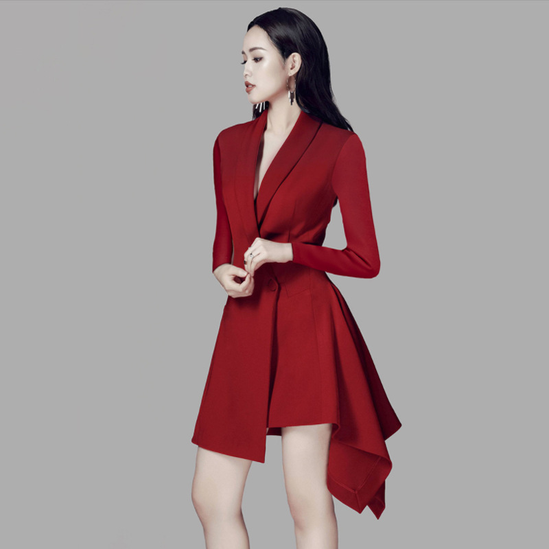 Double Breasted Blazer Dress With Belt Women Slim Fit Party Long Sleeve Fashion Elegant Office Ladies Work Female Short Dresses