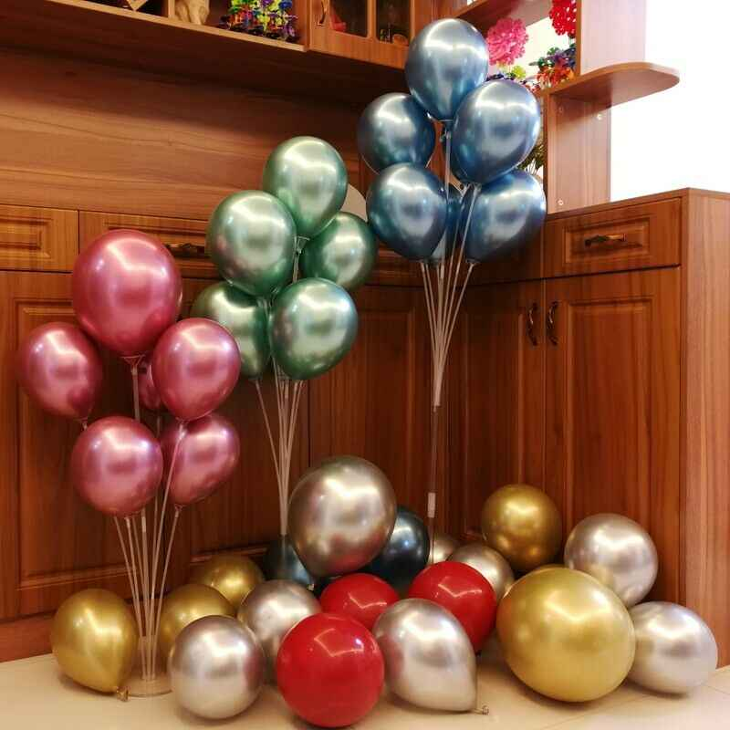 1 Set Balloons Holder Column Stand Floating Wedding  Display Kids Baby Gifts 11Tubes Clear Balloon Stick Party Home Decoration