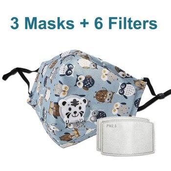 3 PCS Del Fumetto PM2.5 Bambini Maschera Maschera Con 6 Filtri Respiro Bocca Valvola Viso Maschera Per Bambini Lavabile Maschera Maschera di Polvere a prova di sterile In Magazzino 12