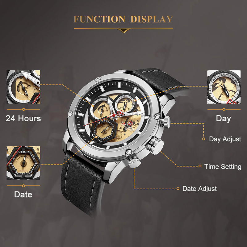 Image 5 - NAVIFORCE Top Brand Men Luxury Watch Full Steel Quartz Male Sport Wrist Watches Military Leather Clock Relogio Masculino 2019-in Quartz Watches from Watches