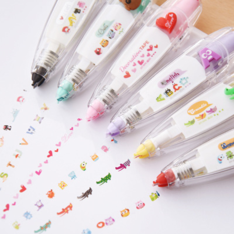 Drawing Toys DIY Child Creative Correction Tape Sticker Pen Cute Cartoon Book Decorative Kid Novelty Floral Adesivos Label Tape