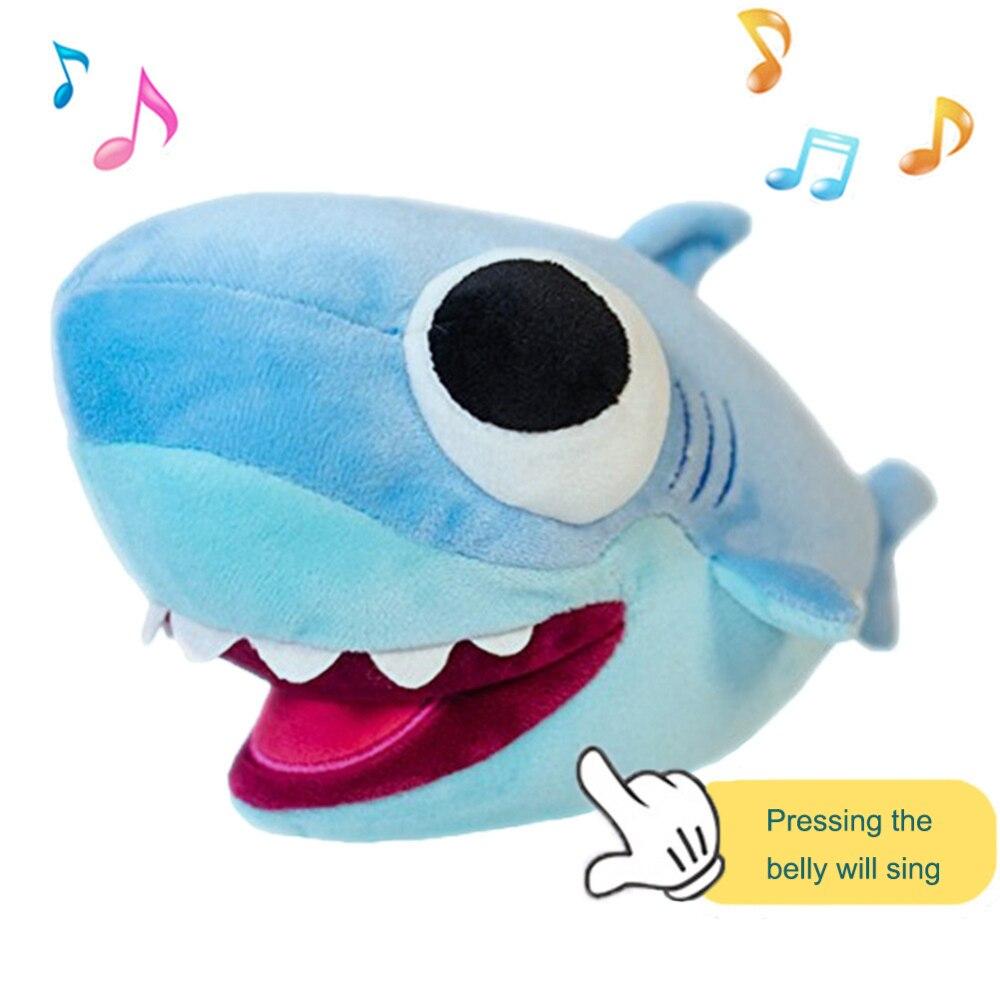 25cm belle musique de LED morsure douce requin en peluche oreiller apaiser coussin cadeau pour enfants cadeaux d'anniversaire livraison directe J75
