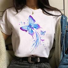 25 # Harajuku pasująca koszulka damska nadrukowany motyl Plus rozmiar O-neck nadruk kota z krótkim rękawem graficzna koszulka bluzki Женские Футболки tanie tanio CN (pochodzenie) Lato Osób w wieku 18-35 lat Na co dzień Poliester Drukuj Oddychające Natural color shirt women t-shirt