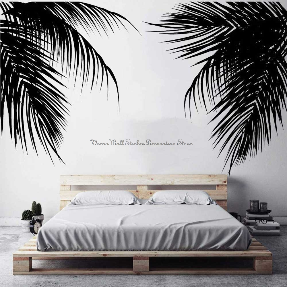 Palm Wall Decal Palm Leaf Silhouette Seaside Holiday House Fashion Home Living Room Door Bedroom Window Decoration Vinyl Decal 5