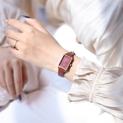 New Luxury Brand lady Crystal Watch Women Dress Watch Fashion Rectangle Red Quartz Watches Waterproof Real Leather Wristwatches