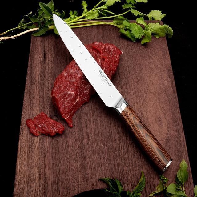 Cuchillo de cocina japonesa Set de cuchillos de Chef profesional Alemania 1,4116 de acero de alto carbono vegetal Santoku cuchillo de pan para cocinar 4