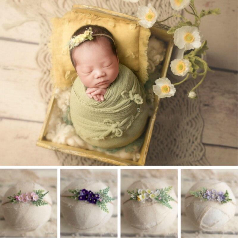 Newborn Photography Props Mini Flower Baby Headband Hemp Rope Baby Hairband Infant Photo Shoot Accessories Baby Headwear