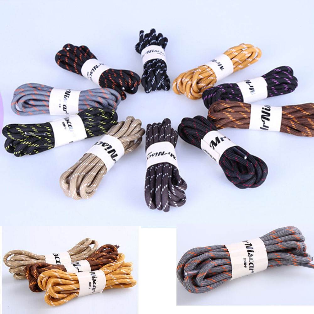 One Pair 140cm Outdoor Walking Boot Laces Hiking Long Strong Round Coloured Shoelaces