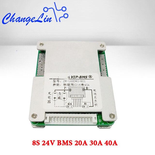8S 24V BMS Li Ion Lipo Lifepo4 литиевая батарея Защитная плата 20A 30A 40A общий порт баланс EBike EV Cell Pack DIY модуль