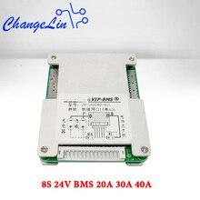 8S 24V BMS Li ion Lipo Lifepo4 batterie au Lithium carte de Protection 20A 30A 40A Port commun Balance EBike EV cellule Pack bricolage Module