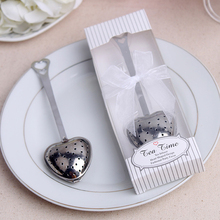 (50 pieces/lot) Wedding Souvinirs Reminder Heart Shape Stainless Steel Tea Infuser Tea Spoon Strainer Steeper With Gift Box S01