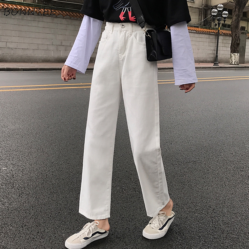 Jeans Womens Elastic High Adjustable Waist Solid Pockets Streetwear Straight Females Trousers Basic Classic Ankle-length Trendy