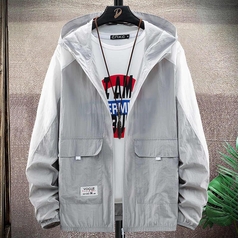 太陽uv保護6XL 7XL 8XLフード付きコートフィユニセックス超軽量通気性アウトドアスポーツ夏防水クイックドライジャケット