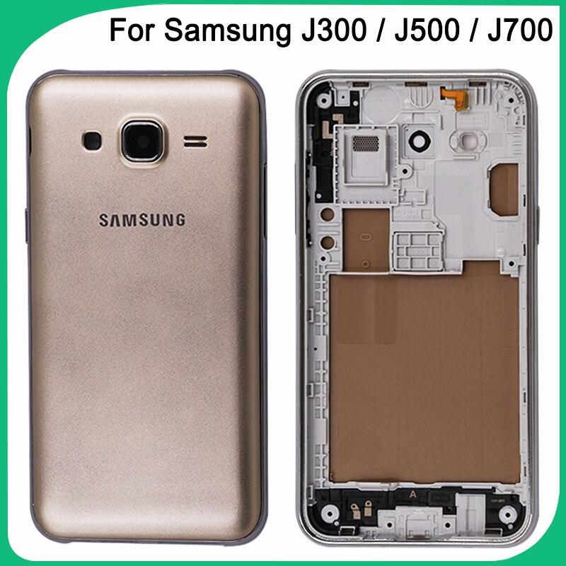 New J300 J500 J700 Battery Cove For Samsung Galaxy J3 J5 J7 2015(Dual) Back Cover + Middle Frame+Camere Lens Full Housing Case