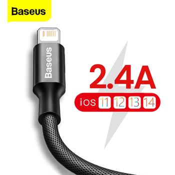 Baseus kabel USB do iPhone 13 12 11 Pro Max X XR XS 8 7 6s 6 iPad szybka ładowarka do ładowania danych przewód USB kable do telefonów komórkowych tanie i dobre opinie LIGHTNING 2 4A CN (pochodzenie) USB A Aluminum+Cloth Data Transmission Fast Charging Charger Wire Cord Blue Red Black