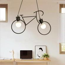 цена на Nordic creative bicycle chandelier personality restaurant simple wrought iron chandelier living room lamp children bedroom light
