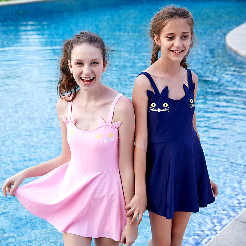 2018 New Style Cat Strapped Dress GIRL'S Bathing Suit Cute Fashion KID'S Swimwear Manufacturers Direct Selling Wholesale