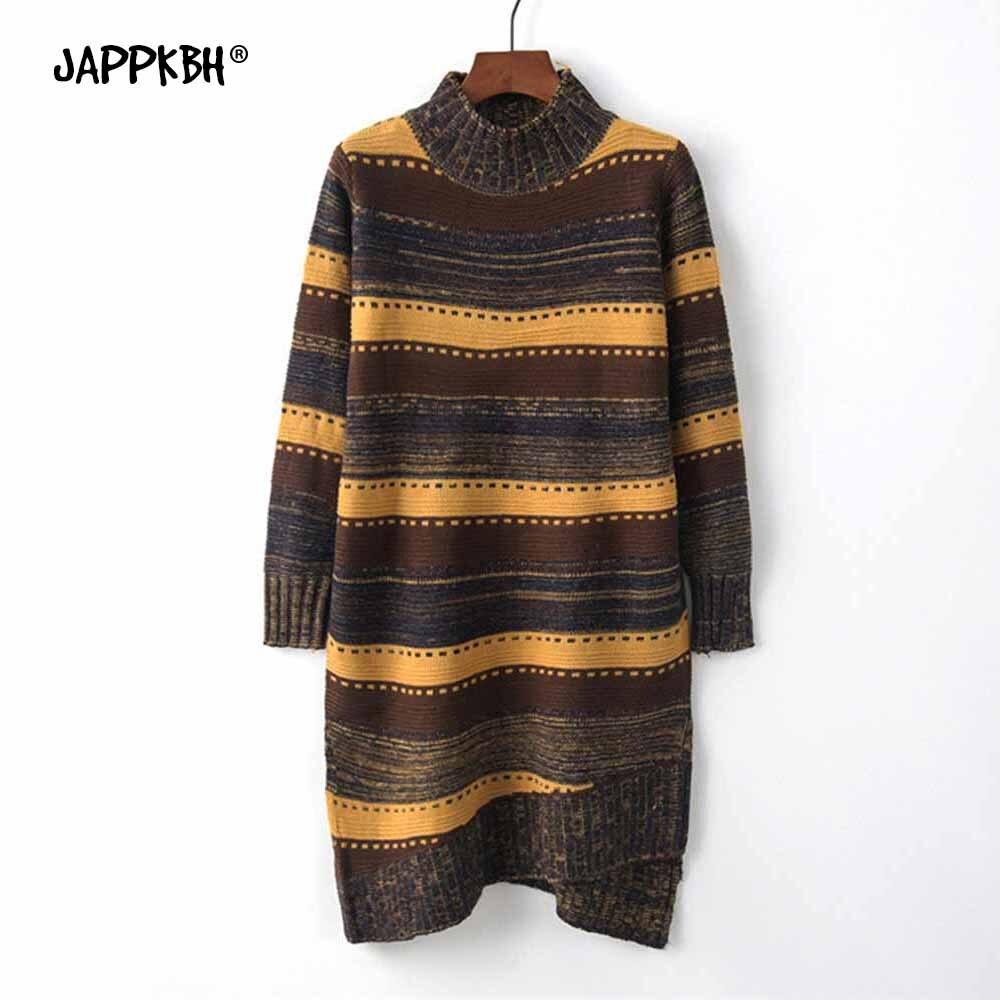 Casual Loose Autumn Winter Turtleneck Sweater Women Oversize Irregular Striped Knitted Sweaters Warm Long Pullover Sweater Dress