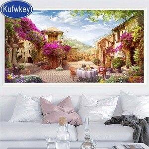 Алмазная вышивка Garden Street View, распродажа, алмазная картина, полностью квадратная круглая дрель, мозаика, 3d Вышивка крестом, diy Ландшафтный Дек...