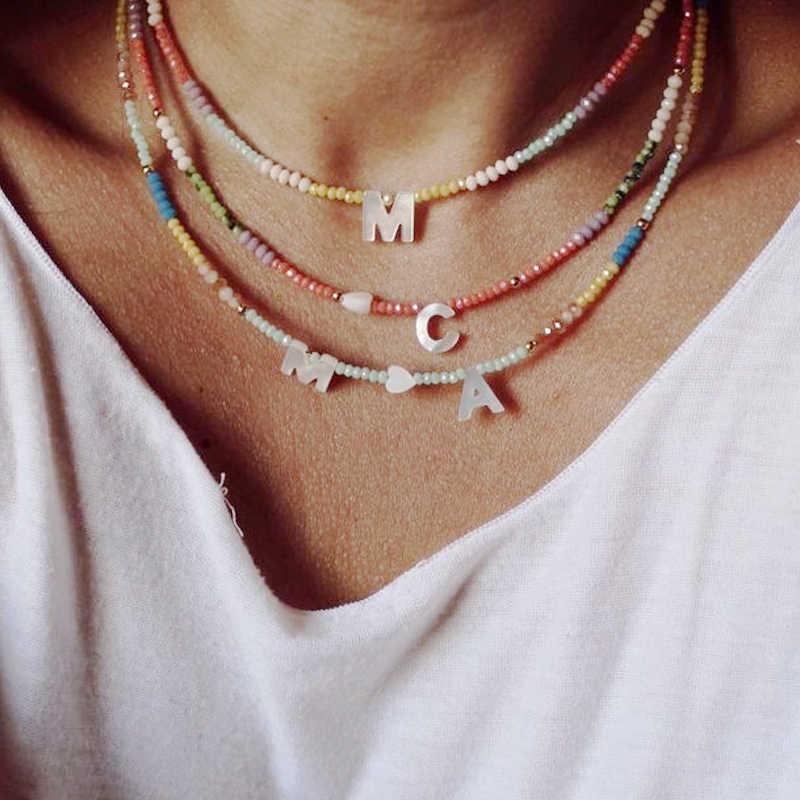 2020 новый стиль красочные хрустальные бусины ракушки Сердце ожерелье для женщин богемные персонализированные ювелирные изделия подарок буква чокер бижутерия