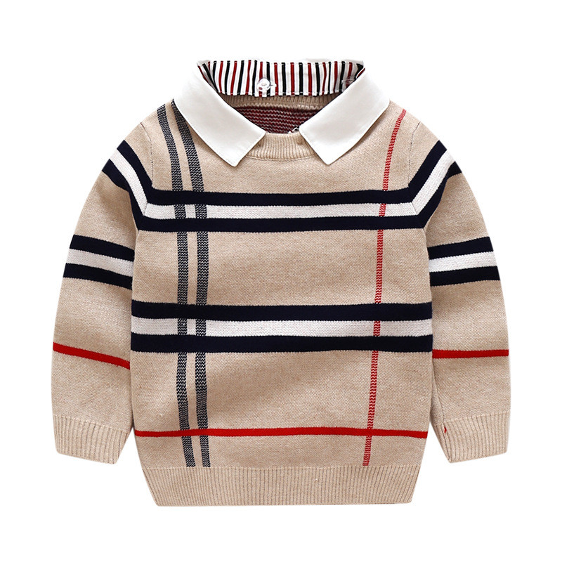 Autumn Boys Sweater Plaid Children Knitwear Boys Cotton Pullover Sweater Kids Fashion Warm Outerwear Baby Clothes G302