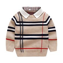 Jesień chłopcy sweter Plaid dzieci dzianina chłopcy pulower bawełniany sweter moda dziecięca ciepłe ubrania dla dzieci odzież G302 tanie tanio COTTON Na co dzień REGULAR Skręcić w dół kołnierz Pełna Aplikacje Pasuje prawda na wymiar weź swój normalny rozmiar