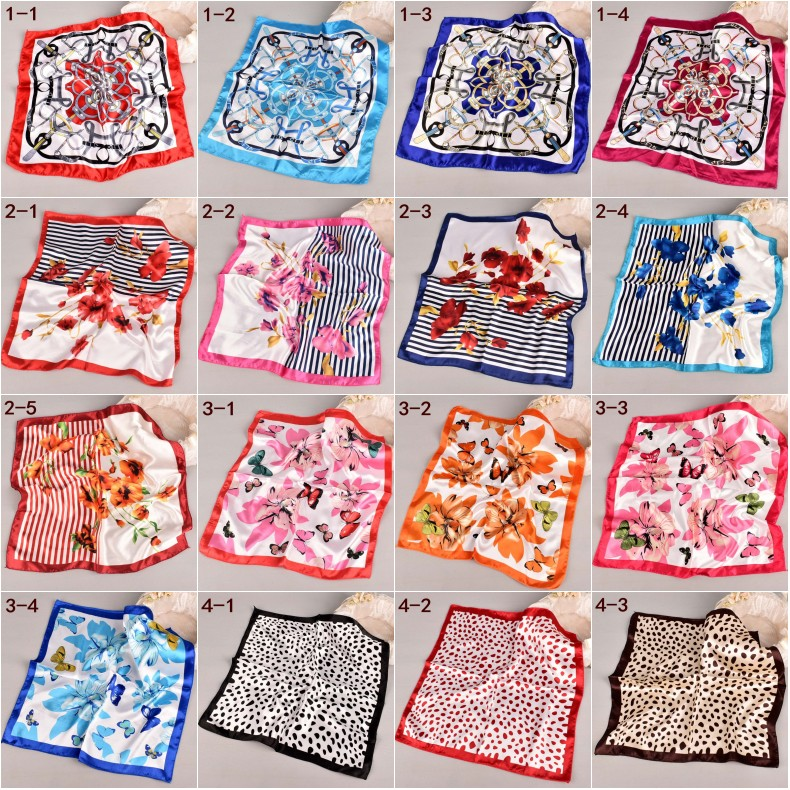 2019 2NewKorean Professional Small Scarf Free Shipping,New Simulation Silk Ladies Print Small Square Scarf