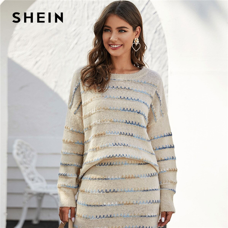 SHEIN Beige Tie Dye Drop Shoulder Oversized Casual Sweater Women Tops Spring High Street Whipstitch Detail Stretchy Sweaters 1