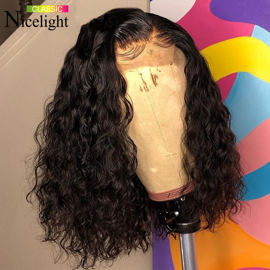 Nicelight Brazilian Water Wave Lace Frontal Wig Remy Pre-Plucked Curly Lace Closure Wigs Human Hair Wet And Wavy Short Bob Wigs