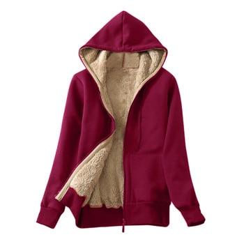 Autumn Winter Women Ladies Jackets Coat Warm Jumper Cardigans Fleece Faux Fur Zipper Solid Coat Hoodie Outwear Femme Plus Size