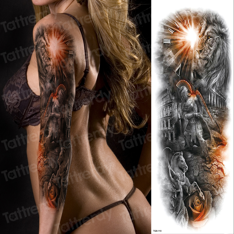 Tattoo Sleeve Pattern Temporary Tattoo Full Arm Sleeve Sexy Women Tattoo & Body Art Stickers Girls Fake Tatoo For Boys Shoulder