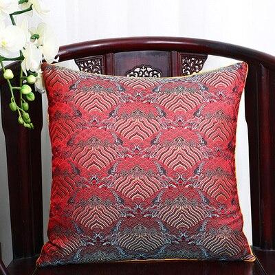 Чехол для подушки для автомобильного стула с цветами 40x40 см 45x45 см 50*50 60*60 китайские красочные диванные Декоративные Чехлы для подушек, шелковая атласная наволочка - Цвет: red seawater