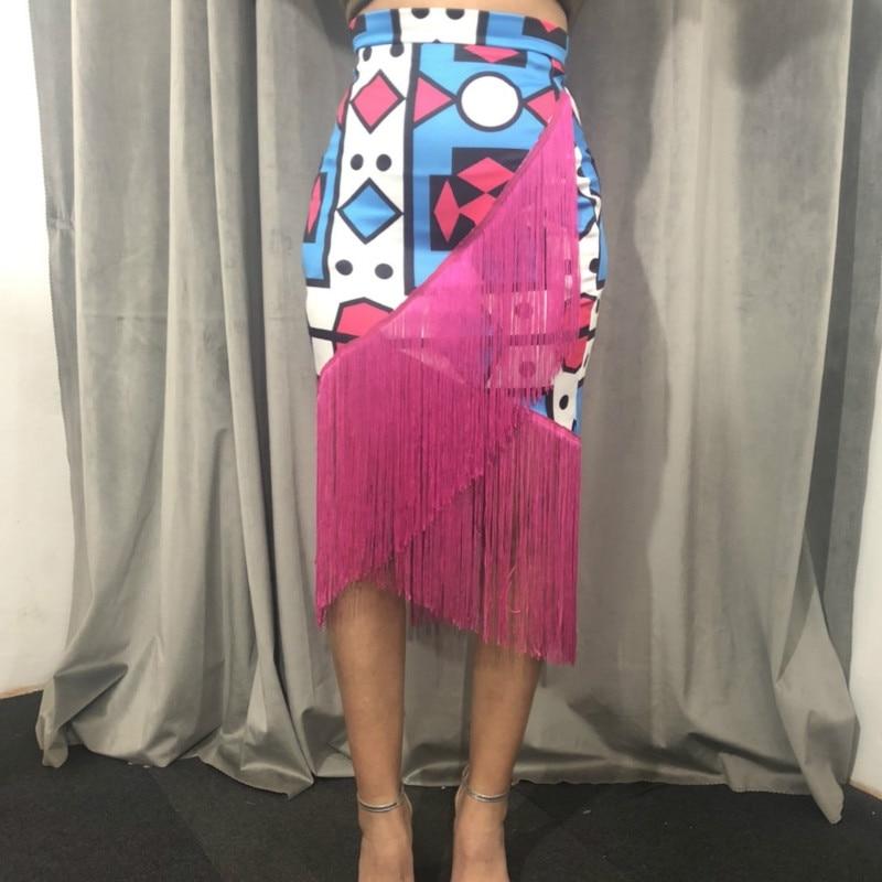 High Waist Printed Tassel Skirts Irregular African Fringe Modest Elastic Bodycon Women Spring Summer Elegant Retro Jupes Falads