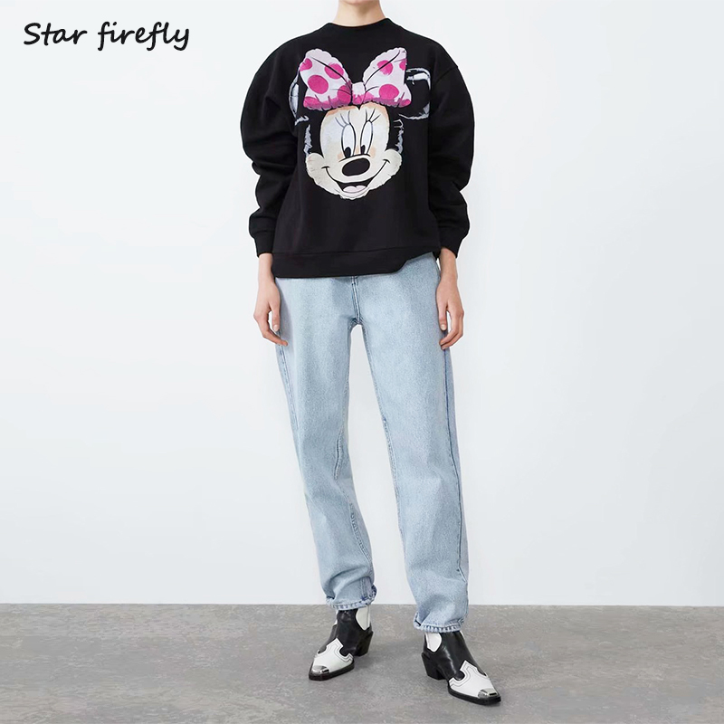 Star Firefly Casual Wild Loose Large Size Sweatshirt Women Round Neck Cartoon Pink Mouse Print Pullover Sweatshirt