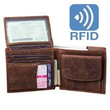Men's Wallet Genuine Leather RFID Purse Clip Credit Card Holder Small Organzier Wallets Mini Coin Purses Retro portfel carteiras