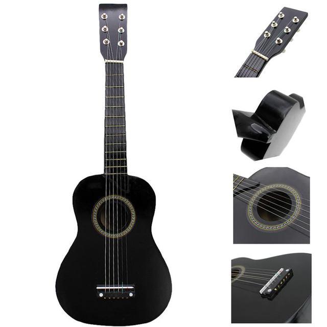 IRIN Mini 23 дюймов липа 12 Лады 6 струнная акустическая гитара с медиатором и струнами для детей/начинающих (черный)