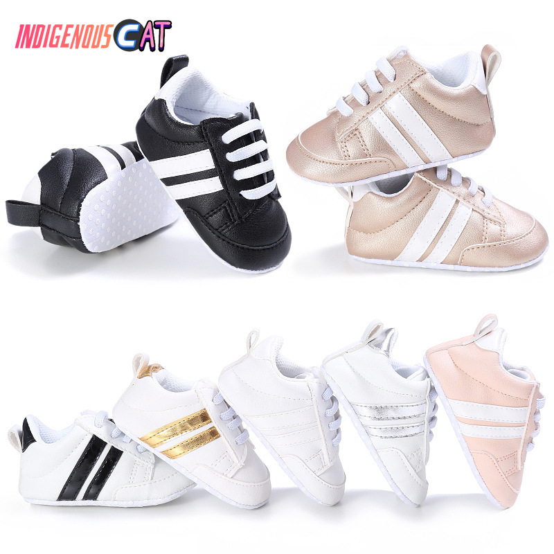 Baby Shoes Pu Leather Shoes Sports Sneaker Newborn Baby Boys Girls Stripe Pattern Shoes Infant Sport Soft Anti-slip Shoes