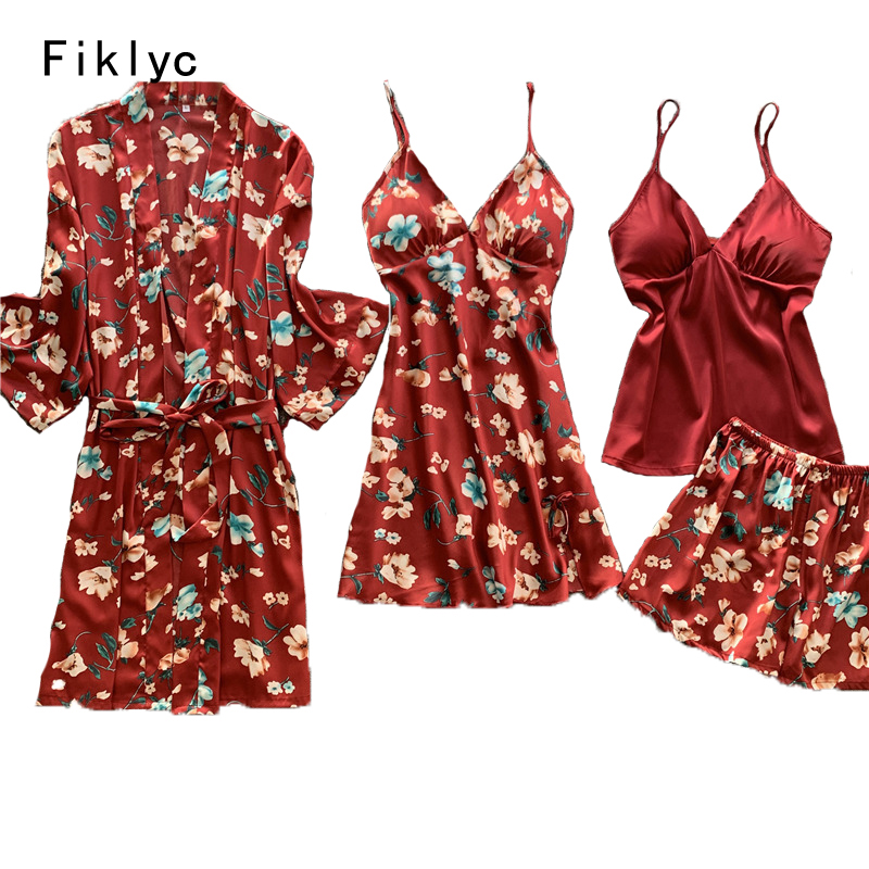 Fiklyc Underwear 4-pieces Flower Print Sexy Women's Pajamas Sets Summer Female Pyjamas Mujer Femme Night Suits High Quality