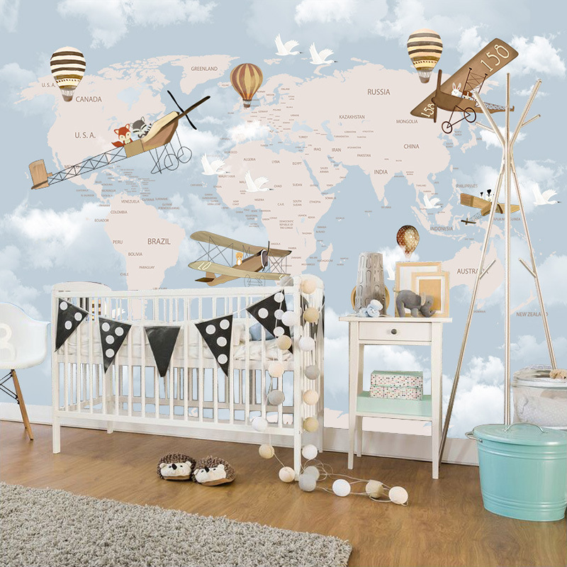 3D Cartoon Airplane Wallpaper CHILDREN'S Room Boys And Girls Warm Bedroom Wall Wallpaper Wall Cloth