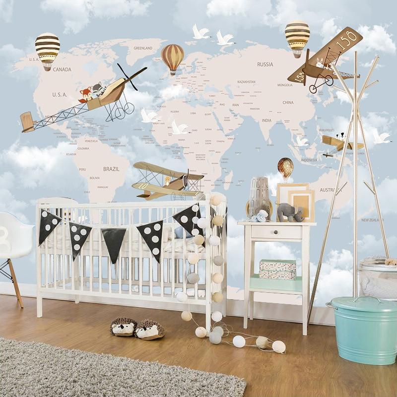 3D Cartoon Airplane Wallpaper CHILDREN'S Room Boys And Girls Warm Bedroom Wall Wallpaper Wall Cloth