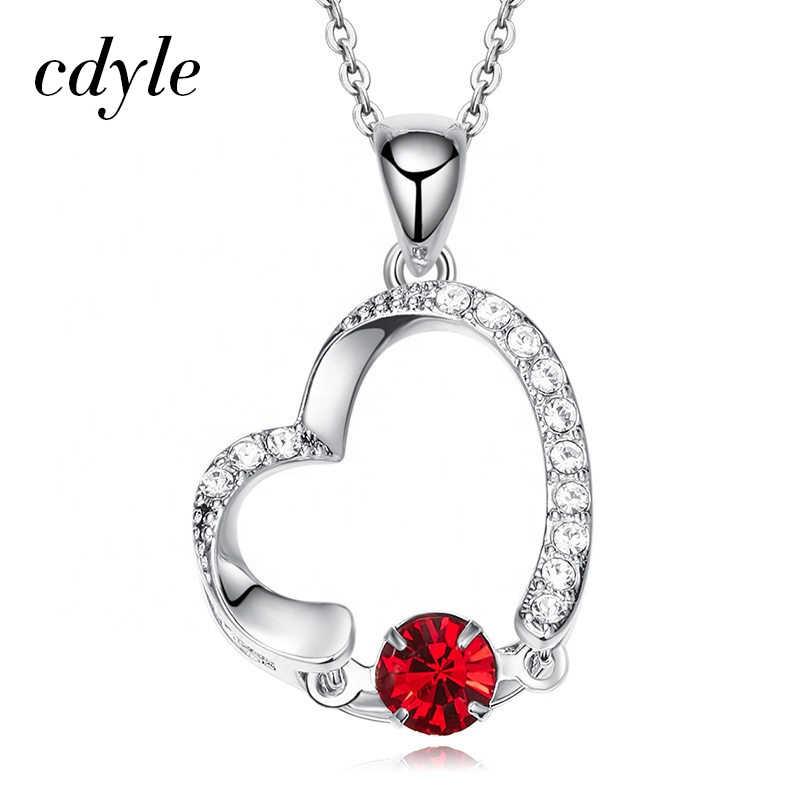Cdyle ผู้ขายที่ดีที่สุดเครื่องประดับ Dainty เปิดหัวใจรักสร้อยคอคริสตัลสีแดงสร้อยคอผู้หญิงเพื่อนที่ดีที่สุดของขวัญการสำเร็จการศึกษา Joias
