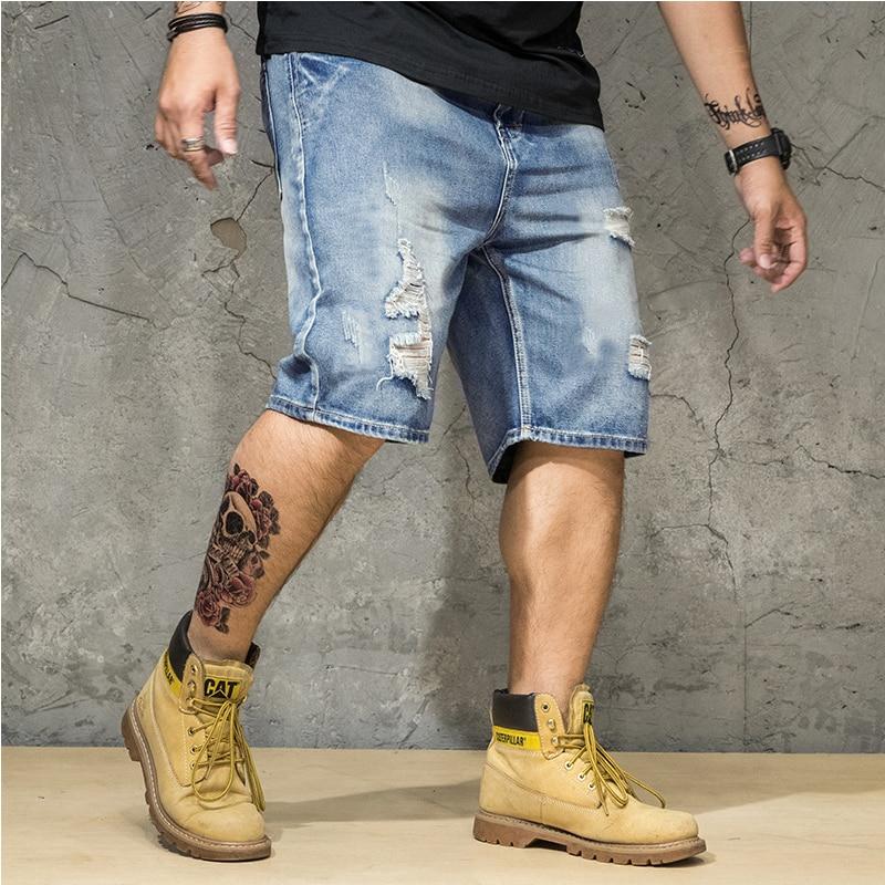 Men's Hole Denim Shorts 2020 Summer The New Fashion Casual Slim Fit Ripped Denim Shorts Male Brand