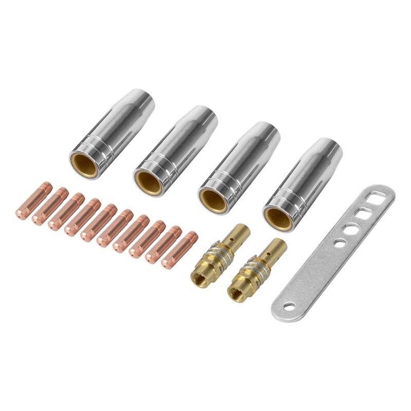 BEAU-17Pcs/Set 15Ak Mig Welding Nozzle Contact Tips 0.8X25Mm M6 Gas Connector Holder Set