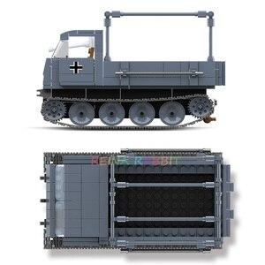 Image 5 - 551PCS גרמנית צבא RSO משוריין משאית עם נשק צבאיים כלי רכב אבני בניין תואם WW2 דמויות צעצועים