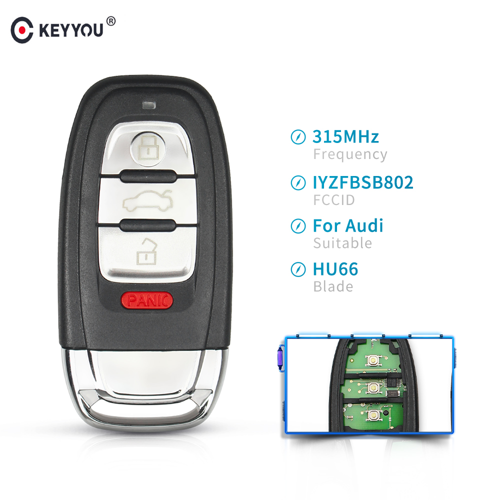 KEYYOU Smart Car Remote Key Fob 3+1 Button 315MHz FCC ID: IYZFBSB802 for Audi A3 A4 A5 A6 A8 Quattro Q5 Q7 A6 A8 With ID46 chip|Car Key| |  - title=