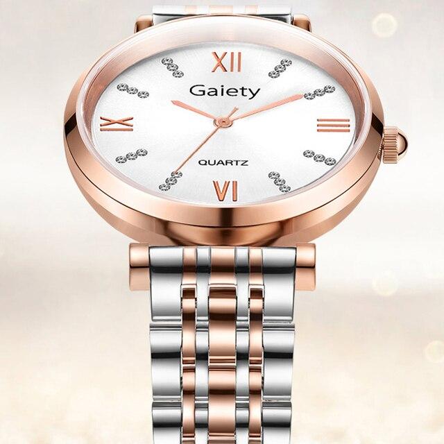 Gaiety Brand Luxury Crystal Watch Women Diamond Rose Gold Steel Strap Ladies Wrist Watches Bracelet Clock Gifts Relogio Feminino
