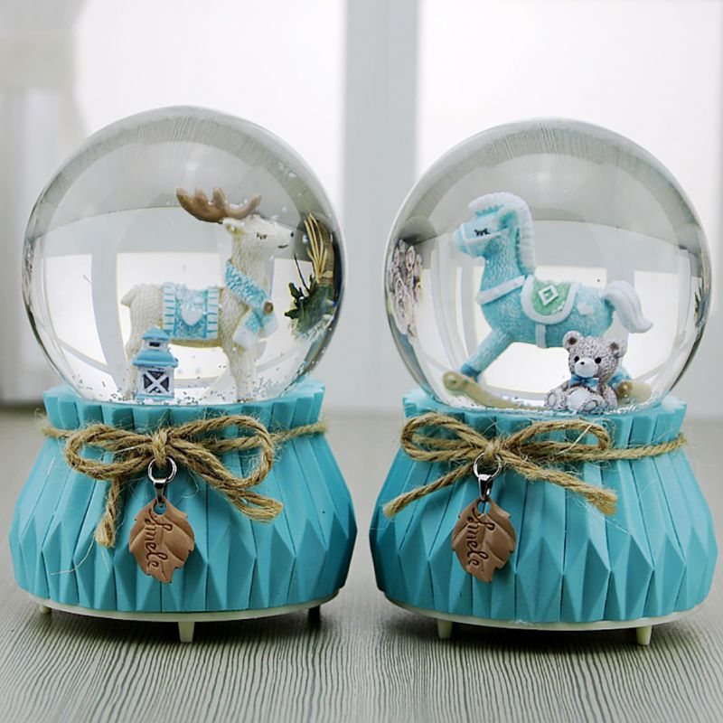 New Music Box Wooden Horse Elk Snow Change Light Luminous Crystal Ball Music Box Home Decor Ornament Birthday Gift For Kids image