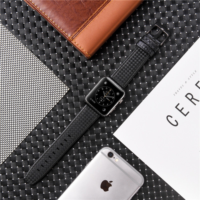 Genuine Leather Carbon Fiber Strap For Apple Watch Series 5 4 3 2 Bracelet Replacement Watch Band For IWatch 38mm 42mm 40mm 44mm